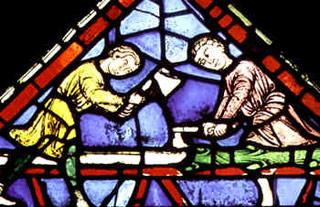 Tailleurs de pierres - Vitrail XIIIème (détail)